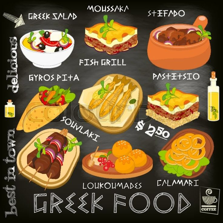 Stock vector of 'Greek Food Menu Card with Traditional Meal on Chalkboard Background. Greek Cuisine. Food Collection.  Vector Illustration.'