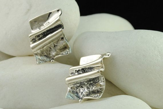 Crinkle ClipOn Earrings in  Solid Sterling Silver