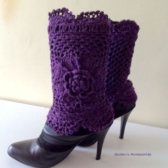 Crochet Purple Gold Sparkle Boot Cuffs with Flower, Leg Warmers, Fall Fashion Accessories