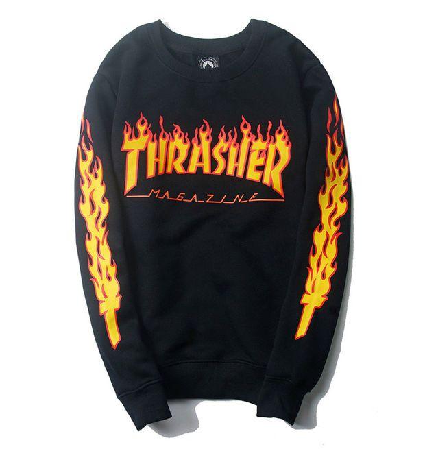 Thrasher Magazine Flame Logo Black Crew Neck Sweatshirt