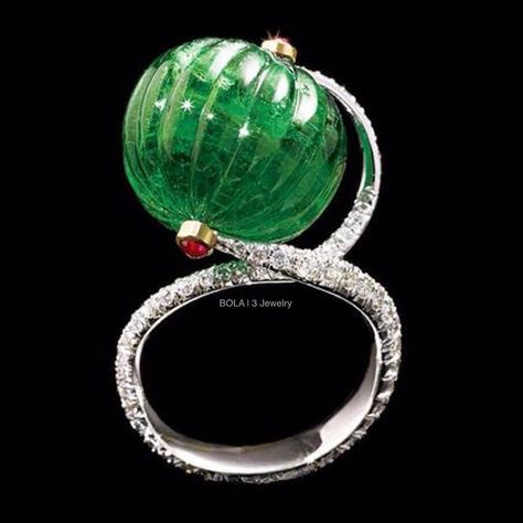 VIREN BHAGAT Emerald, Ruby, and Diamond Ring