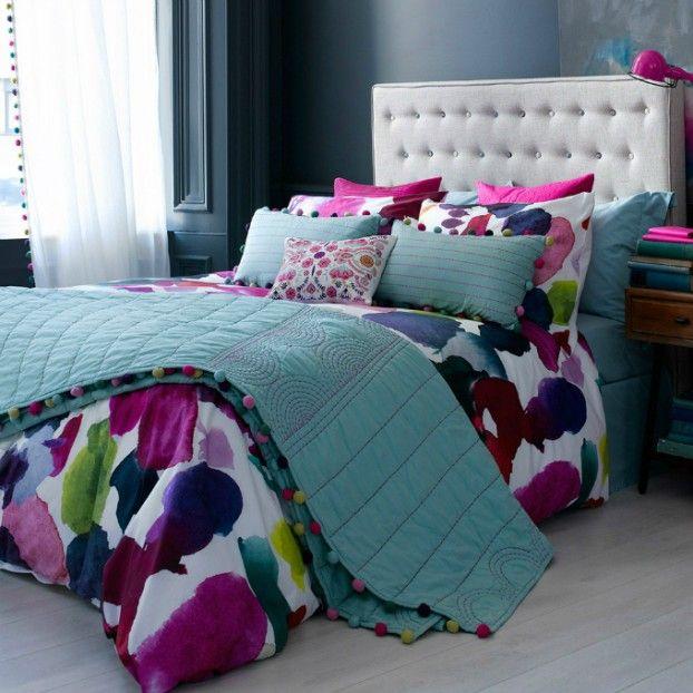 Cerceta elegante colorido grande colcha quarto com destaques fúcsia