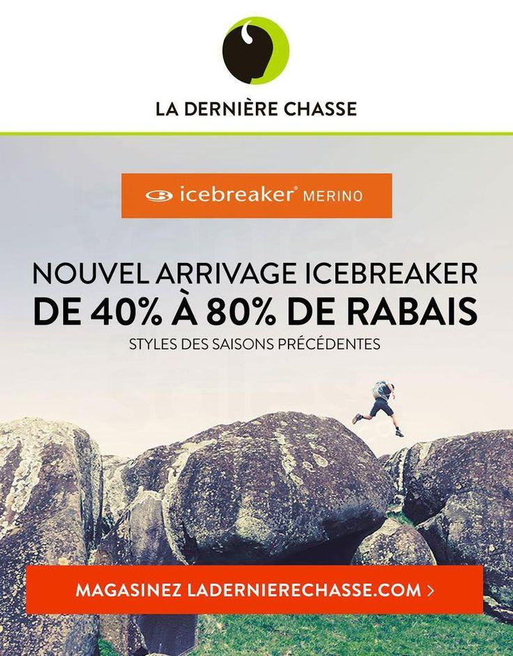 Profitez de rabais allant de 40% à 80% sur les styles des saisons précédentes de la marque Icebraker. Plusieurs styles et plusieurs grandeurs disponibles. Et, rabais jusqu'à 60% sur tous nos vêtements & équipement de plein air pour la famille.