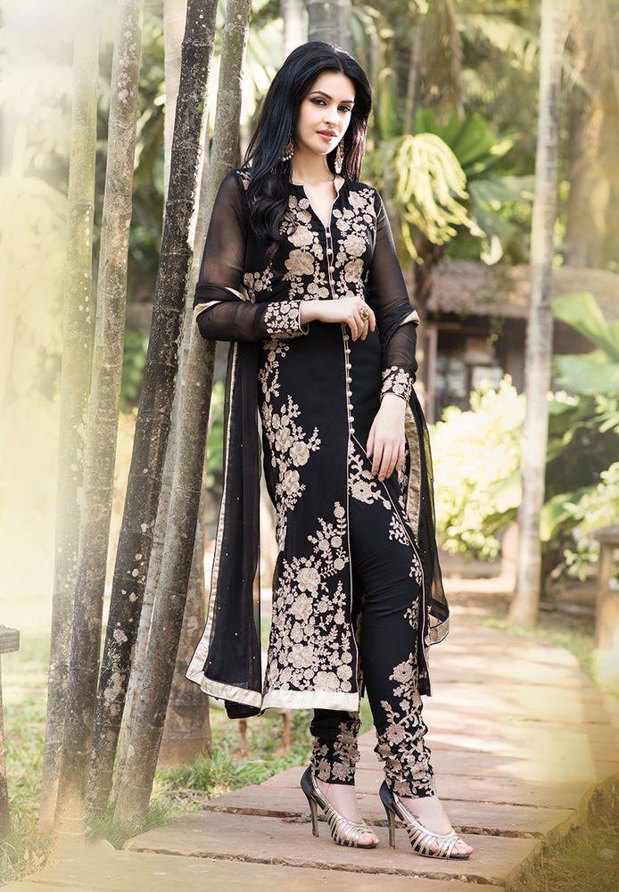 Indian designer suits black churidar pakistani heavy salwar kameez punjabi suit #Handmade #salwarkameez