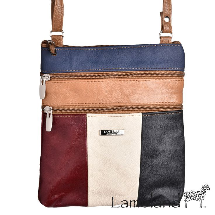 Ladies Small Genuine Leather Multi Colour Cross Body / Shoulder Bag With 5 Zips