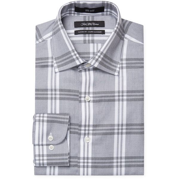 Saks Fifth Avenue Men's Plaid Classic Fit Dress Shirt - Dark Grey,... ($39) ❤ liked on Polyvore featuring men's fashion, men's clothing, men's shirts, men's dress shirts, dark grey, mens dress shirts, mens short sleeve dress shirts, mens cotton shirts, mens classic fit shirts and mens long sleeve cotton shirts