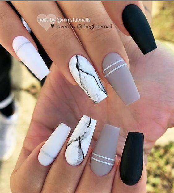 Marble coffin nail designs have become more and more popular in recent years, and the trend has not abated at all. Marble nails are a kind of nail art design which imitates the appearance of marble. Everyone can create this nail art design on their o #naturalNail