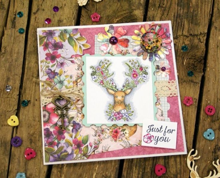 Dovercraft Bohemian stag stamp card by Maxine