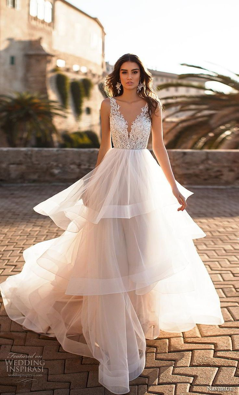 naviblue 2019 bridal sleeveless v neck heavily embellished bodice tiered skirt r…
