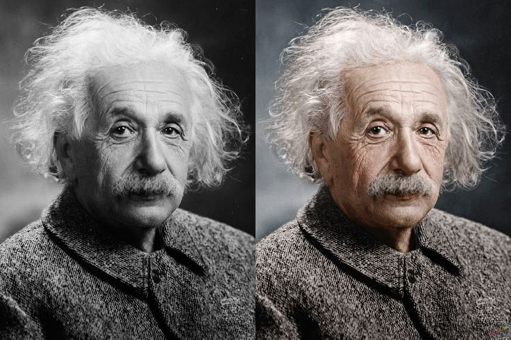 Black and white photo of albert einstein restored and colorized full size photo at http