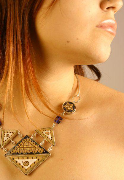 Maggie Sierralta - Maeva ethnic necklace - Ceramic, silver, stones