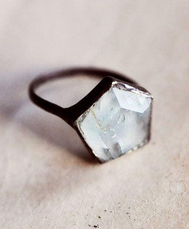 Aesa Silver 3D Hex ring in Onyx or Aquamarine: Pretty Jewellery, Hexagons Rings, Hex Gemstone, Aesa Hex, Diamonds Rings, Hex Rings, Colors Gemstone, Jewelry Rings, Awesome Rings