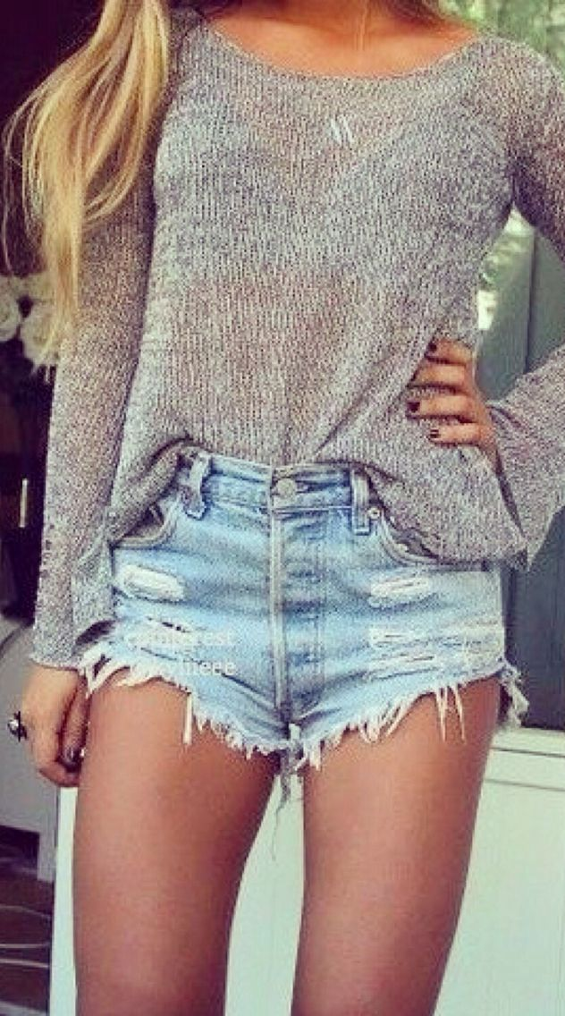 loose top with some cute light jean shorts.