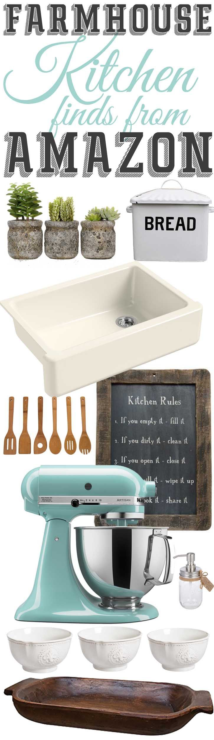 Farmhouse kitchen finds found on Amazon.com. I've gotta look into these! Best online farmhouse decor ideas.