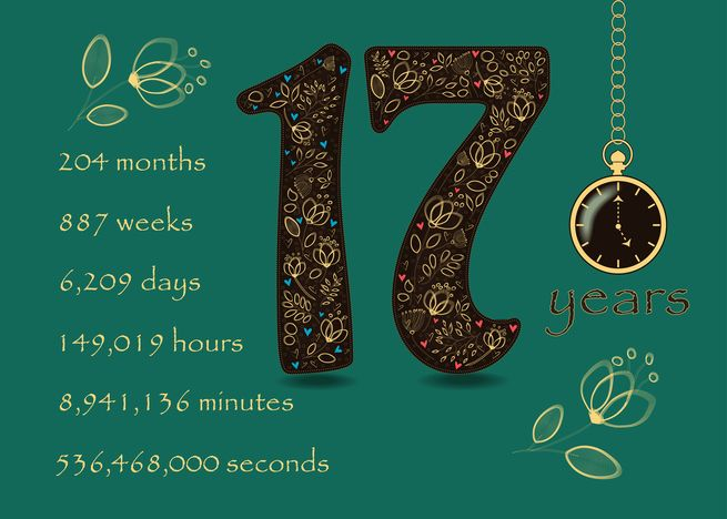 17 Years Recovery Anniversary Floral Number 17 Time Counting Card Ad Affiliate A 17th Wedding Anniversary Wedding Anniversary Cards Wedding Anniversary