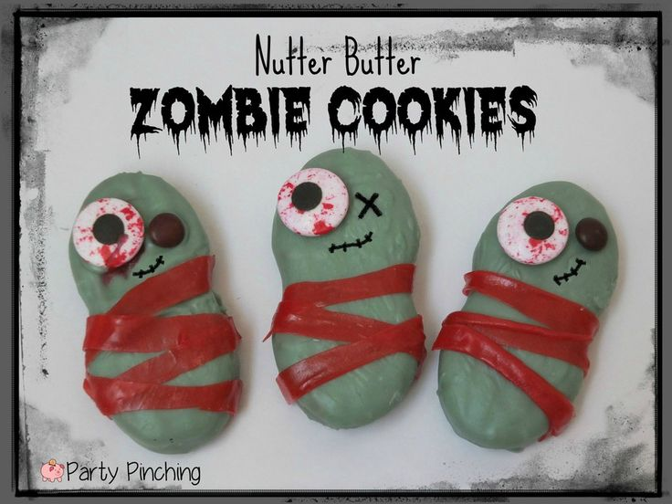 Zombie Nutter Butter Cookie tutorial by Party Pinching