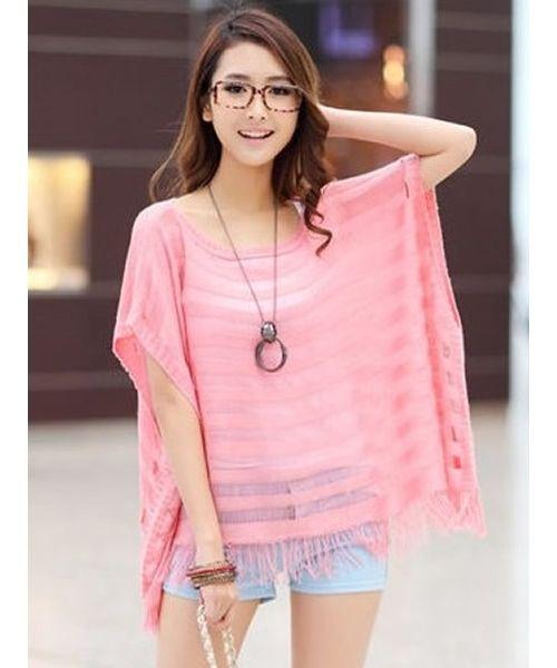 Pink Women Korean Fashion Hollow Summer New Knitting All Matching Blouse T6005p
