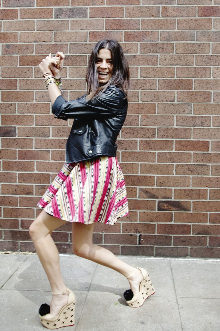 The Man Repeller charlotte olympia shoes w/ poms, funky full skirt & leather jacket