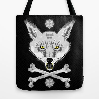 Silver+Fox+Geometric+Tote+Bag+by+chobopop+-+$22.00