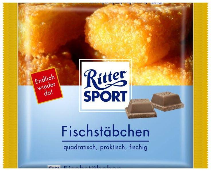RITTER SPORT Fake Schokolade Sorte Fischstäbchen