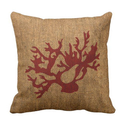 Nautical Coral in Rustic Red Throw Pillow