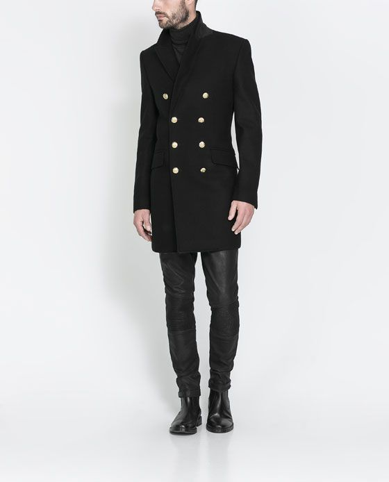 ZARA - MAN - OVERCOAT WITH GOLDEN BUTTON