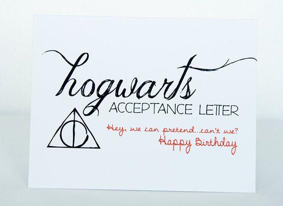 Hogwarts Acceptance Letter Happy Birthday Card Harry