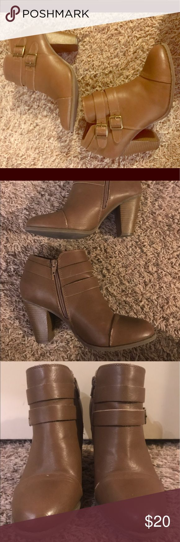 Camel colored ankle boots Cute ankle boots with buckle embellishments. Visible signs of wear, but they still have lots of life! LC Lauren Conrad Shoes Ankle Boots & Booties