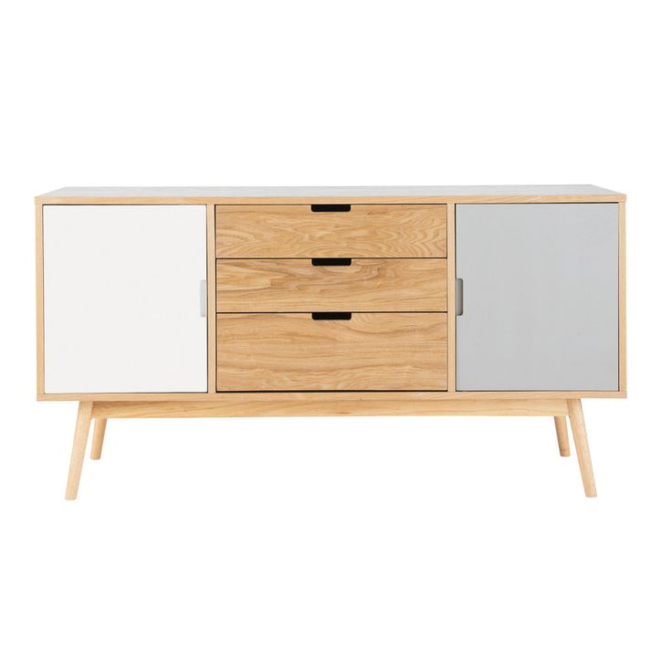 Wooden vintage sideboard in white and grey W 145cm