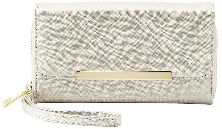 Charlotte Russe Gold-Tipped Double Zipper Wristlet Wallet
