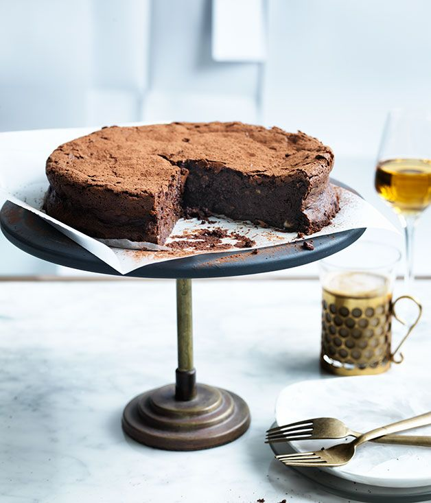 Flourless chocolate, hazelnut and buttermilk cake, gourmet traveller, food photography, food styling