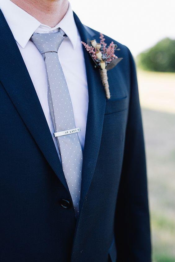 Navy groom suit with silver polka dot tie #dottie