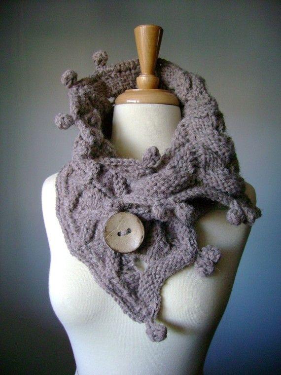 Oversized Chunky Handknit  textured neckwarmer / scarf / wrap / cowl WOODLAND Taupe / Medium Brown