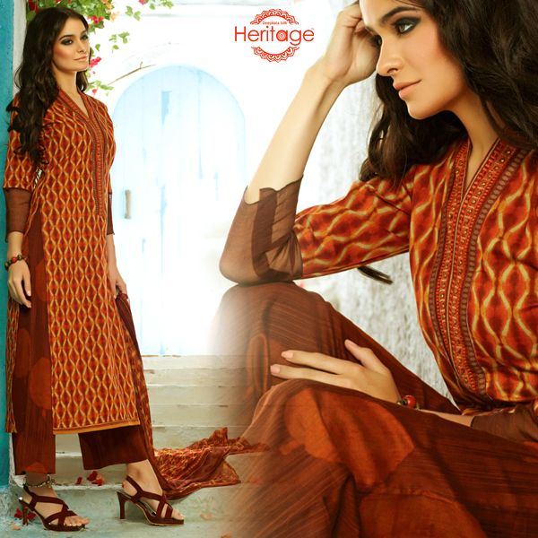 #Maroon colored cotton printed salwar kameez with #palazzo pant and matching printed georgette dupatta.