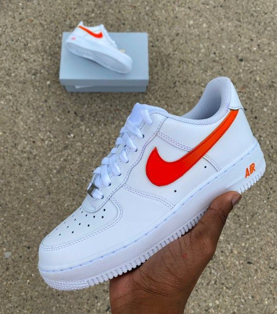 Gradient Red/Orange Air Force Ones | Nike, Orange nike shoes, Nike af1