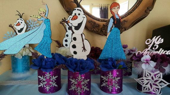 Check out this item in my Etsy shop https://www.etsy.com/listing/241250284/disney-frozen-theme-centerpiece-anna