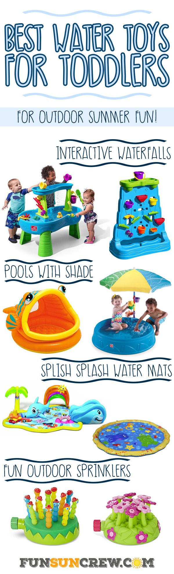 We review the best outdoor water toys for toddlers this summer. These toddler water toys spark the imagination with interactive learning and hours of fun. - Learn more at https://funsuncrew.com MJ loves water toys but is afraid to go in our pool at 2yrs old. I'm sure in time that will change.