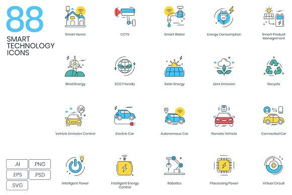 88 Smart Technology Icons by Flat Icons  #graphics #graphicdesign #design #graphic