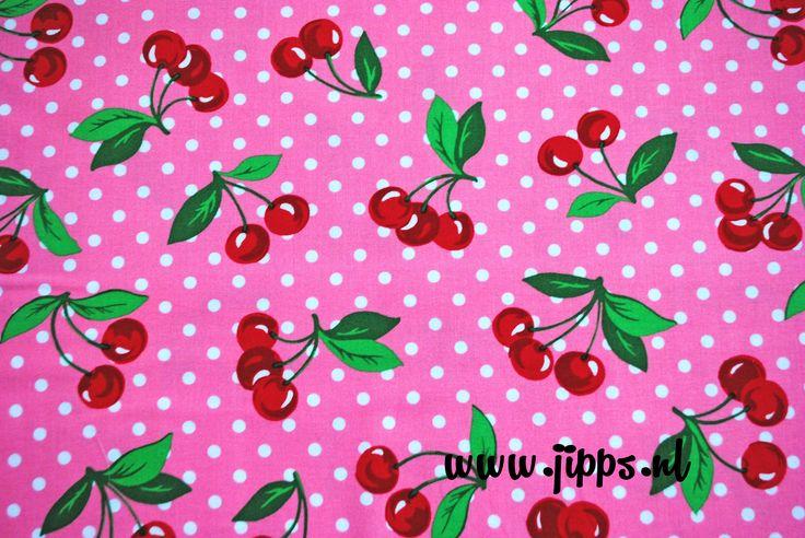 Katoenen stof met kersjes. Cherry Dot van Michael Miller, verkrijgbaar bij http://www.jipps.nl/a-40233362/stoffen-katoen/cherry-dot-12072/