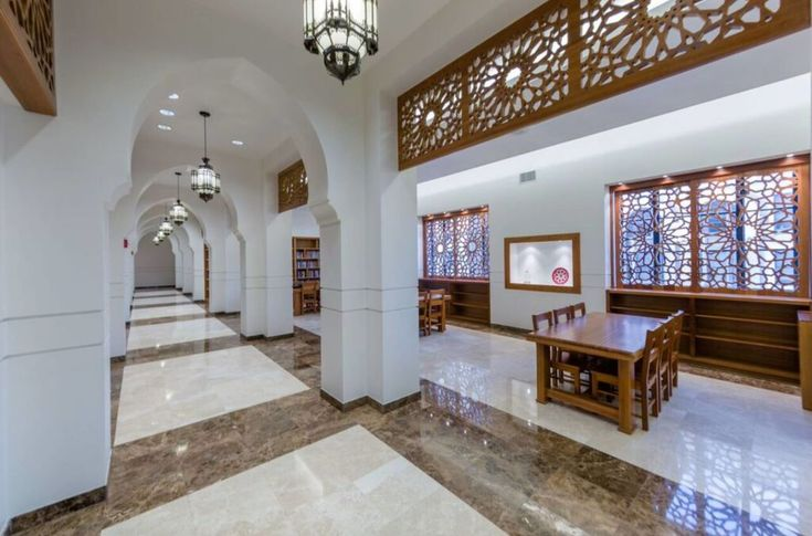 Gorgeous Islamic library in Houston, TX...Islamic dawah center ... love the wood lattice work