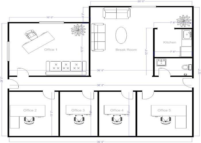 4 small offices floor plans small office layout floor for Small space floor plans