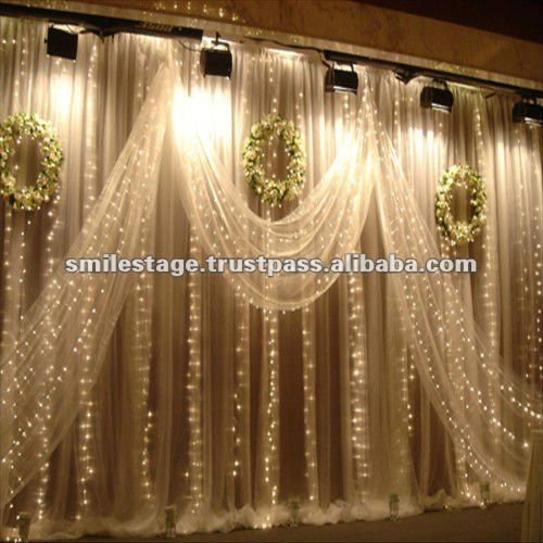 Unique Simple Hall Decoration Ideas: Wedding Hall Decoration With White Background Curtain