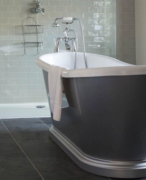 Beautiful bathroom. Crackle Glaze brick tiles mixed with Nero Riven slate from Mandarin Stone. www.mandarinstone.com