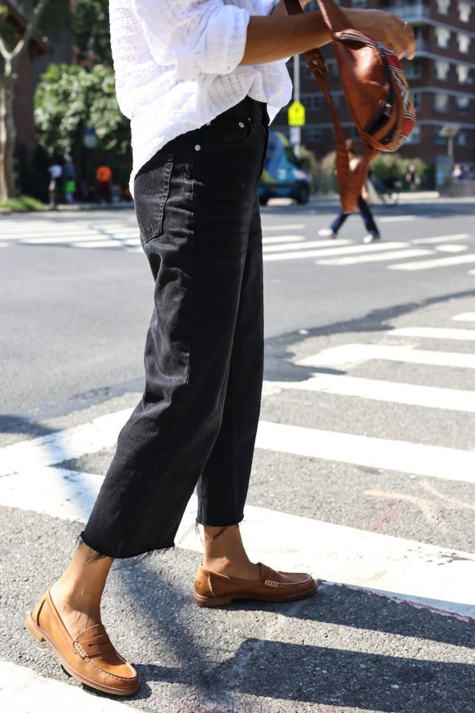 a7cc1207da4  waityouneedthis  SperryMyWay Style blogger Janelle Lloyd wears the Seaport  Penny Loafer in tan with a pair of black kick-flare jeans.