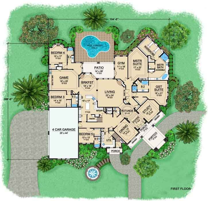 floor plans for new houses 5 bedrooms. European Style House Plans  7670 Square Foot Home 2 Story 5 Bedroom and 6 Bath 4 Garage Stalls by Monster Plan juliette 234 best Blueprints images on Pinterest plans