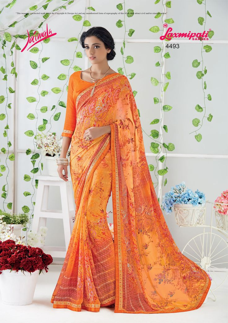 Buy this stunning Orange georgette saree and orange georgette blouse along with fancy pogo work lace border from www.laxmipati.com. We deliver all over the world like USA, UK, Canada, Australia, Dubai, Malaysia, Mauritius, Pakistan, Bangladesh, Nepal, South Asia ... Ready to Ship Fashionable Georgette Saree for Women. #Catalogue: #JAIMALA #Design Number: 4493 #Price - ₹ 1793.00    #Bridal #ReadyToWear #Wedding #Apparel #Art #Autumn #Bl