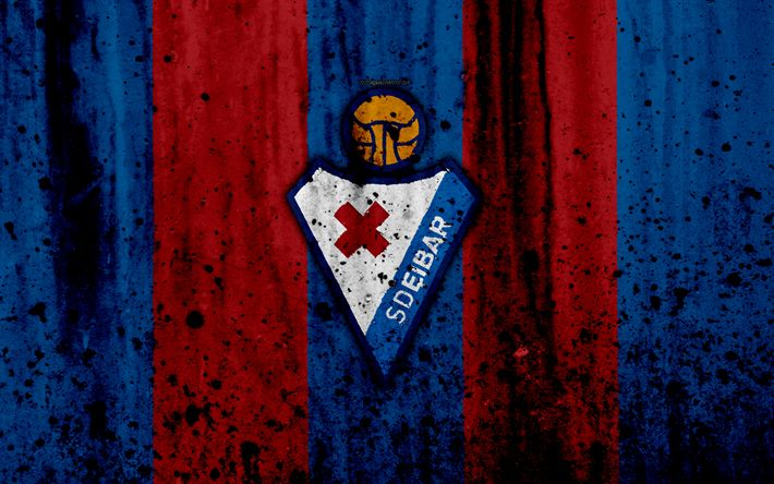 Download wallpapers Eibar, 4k, grunge, La Liga, stone texture, soccer, football club, LaLiga, Eibar FC