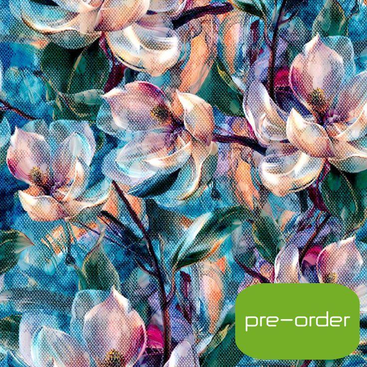 Jersey, digital print med magnolia blomst - FORUDBESTILLING