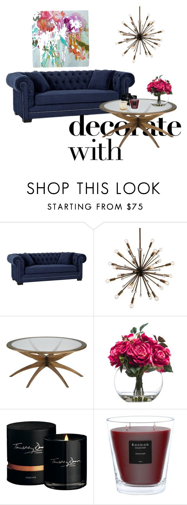 """Blue sofa and candles"" by artdecorationcrafting on Polyvore featuring interior, interiors, interior design, home, home decor, interior decorating, Arteriors, Lux-Art Silks, Timothy Dunn and Baobab Collection"