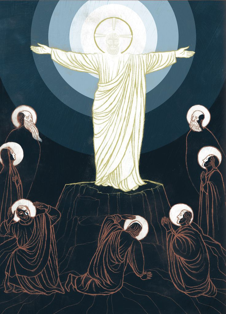 Second Sunday of Lent | 2015 | Catholic Mass Readings | The History of Redemption - Transfiguration (Chris Koelle, © Chris Koelle) | Mt 17:1-2 | After six days Jesus took Peter, James, and John his brother, and led them up a high mountain by themselves. And he was transfigured before them; his face shone like the sun and his clothes became white as light.